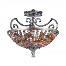 Kalco 2565AF - Chesapeake 3 Light Semi Flush With Beaded Bowl Shade