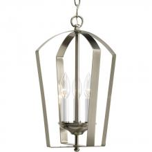 Progress P3928-09 - Three Light Brushed Nickel White Finish Candle Sleeves Glass Open Frame Foyer Hall Fixture