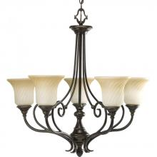 Progress P4238-77 - Five Light Forged Bronze Frosted Caramel Swirl Glass Up Chandelier