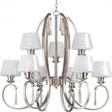 Progress P4525-09 - 9-Lt. 2-tier Brushed Nickel Chandelier