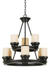 Trans Globe 3369 ROB - Nine Light Rubbed Oil Bronze Tea Stain, Heavy Candle Glass Up Chandelier
