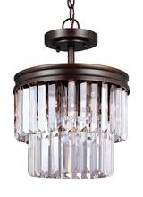 Sea Gull 7714002BLE-710 - Fluorescent Carondelet Two Light Semi-Flush Convertible Pendnat in Burnt Sienna with Prismatic Glass