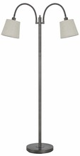 CAL Lighting BO-2444FL-AS - 40W X 2 Gail Metal Gooseneck Floor Lamp With Burlap Shade
