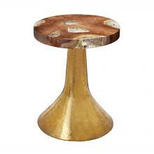 Dimond 162-004 - Hammered Decorative Teak Table in Gold