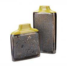 Dimond 857-171/S2 - Dotted Relief Rectangular Vases In Lawn Green