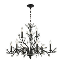 ELK Lighting 11776/6+3 - Crystal Branches 9 Light Chandelier In Burnt Bro
